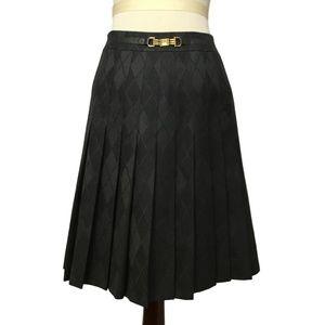 CELINE wool plaid pleated skirt 38 4 6